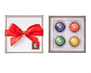 Holiday 4 Piece Chocolate Collection with red ribbon bow