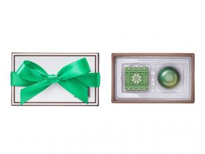 2 piece chocolate stocking stuffer box with green ribbon bow