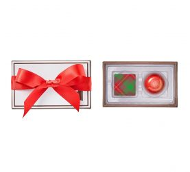 Red ribbon bow chocolate stocking stuffers